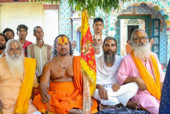 Mahant Param Das (2nd left) with other sadhus during his indefinite hunger strike for construction of the Ram Temple, at Ramghat in Ayodhya. PTI