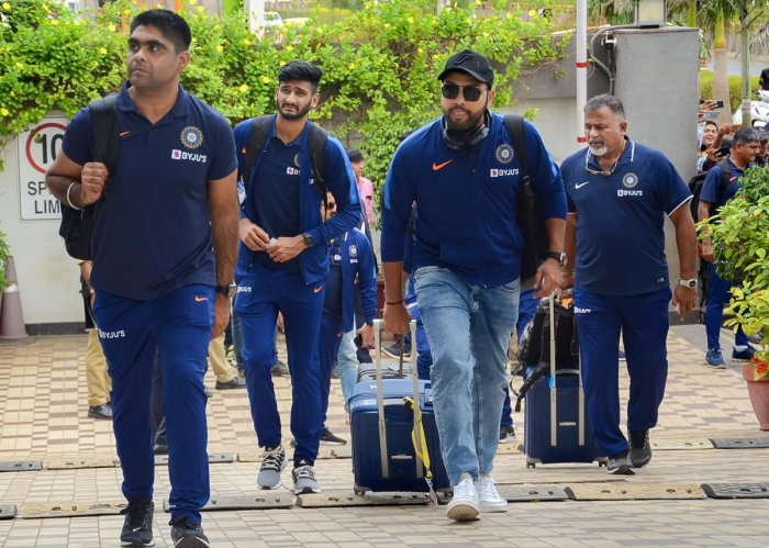 Indian men's cricket T20 team arrive at a hotel ahead of their second match with Bangladesh, in Rajkot. (PTI Photo)