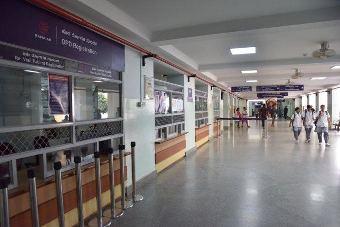 The OPD at Ramaiah hospital wears a deserted look on Friday. DH PHOTO/JANARDHAN B K