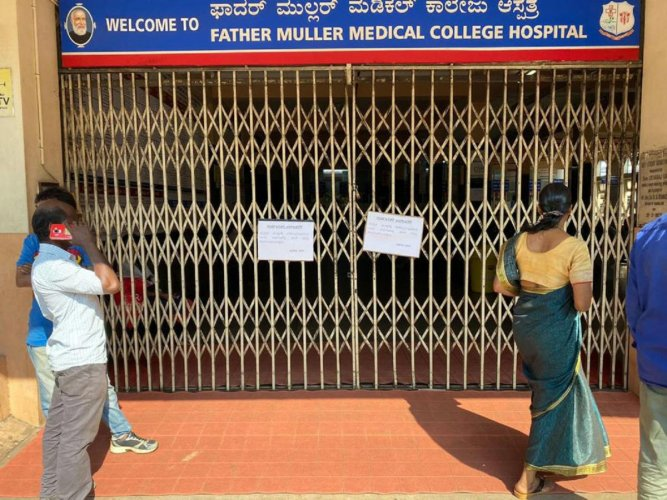 Out Patient Department (OPD) services remained closed at Father Muller Medical College Hospital in Mangaluru on Friday.