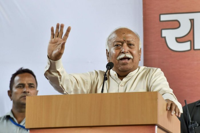 Rashtriya Swayamsevak Sangh (RSS) chief Mohan Bhagwat addresses a press conference after the Supreme Court pronounces its verdict on Ayodhya land case, in New Delhi, Saturday, Nov. 9, 2019. (PTI Photo)
