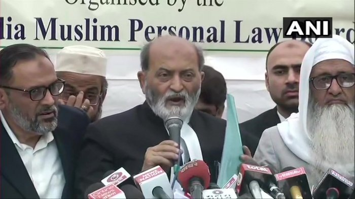 """In his initial reaction soon after the judgement, the Board's counsel Zafaryab Jilani (C) had said in Delhi, """"The Ayodhya verdict has a lot of contradictions. We will seek a review as we are not satisfied with the verdict."""" Photo/ANI"""