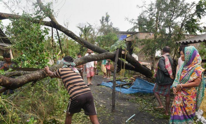 Villagers clear a blocked road after a tree uprooted in the aftermath of cyclone 'Bulbul', at Bakkhali, in South 24 Parganas district of West Bengal, Sunday, Nov. 10, 2019. (PTI Photo/Ashok Bhaumik)