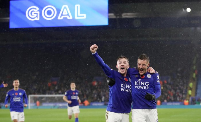 Leicester City's James Maddison celebrates scoring their second goal with Jamie Vardy. (Reuters photo)