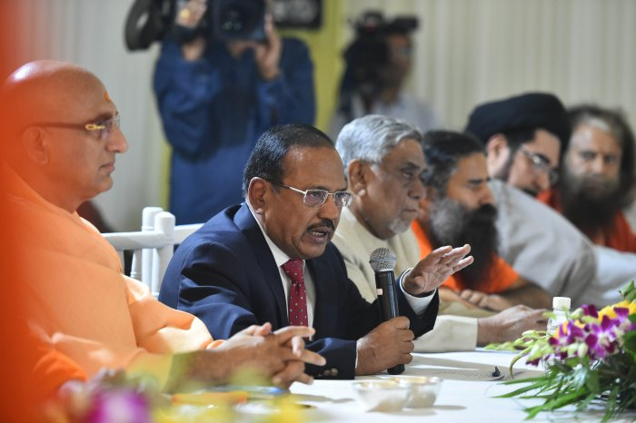 NSA Ajit Doval speaks during an inter-religious faith meeting at his residence in New Delhi. (PTI Photo)