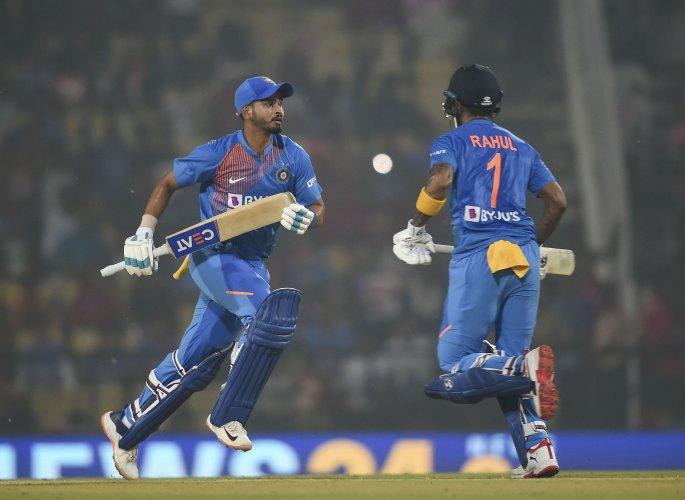 Indian batsmen Shreyas Iyer and KL Rahul run between the wickets during the third T20 cricket match against Bangladesh at Vidarbha Cricket Association Stadium in Nagpur. (PTI Photo)
