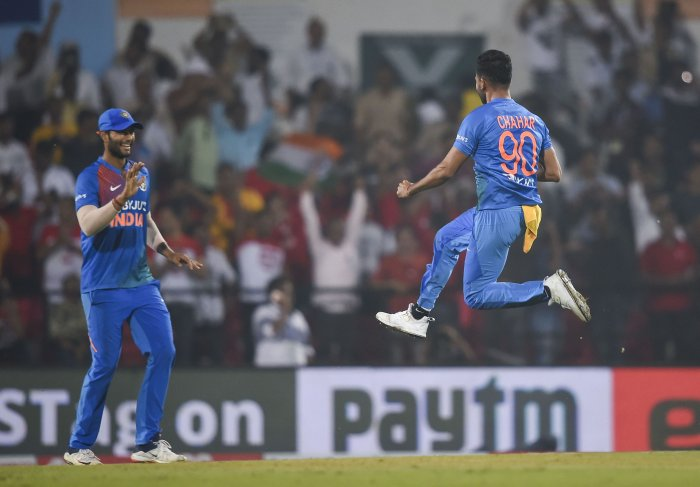 Indian player Deepak Chahar celebrates the dismissal of Bangladeshi Aminul Islam during the third T20 cricket match at Vidarbha Cricket Association stadium in Nagpur. (PTI Photo)