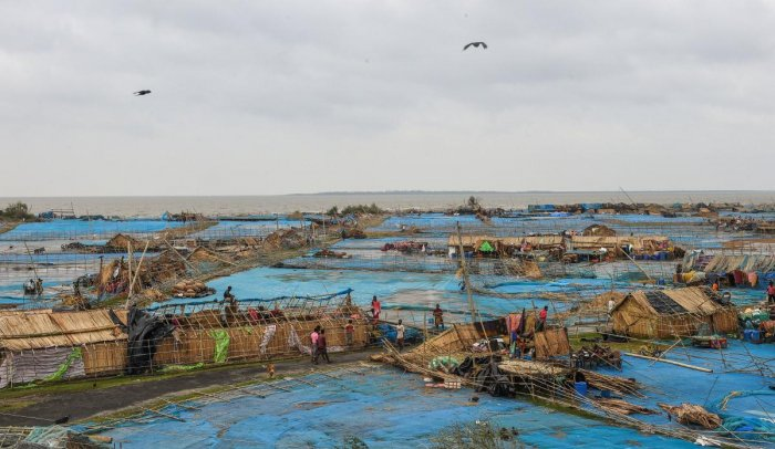 An aerial view of a destroyed fisherman village in the aftermath of cyclone 'Bulbul', at Fraserganj, in South 24 Parganas district of West Bengal. PTI
