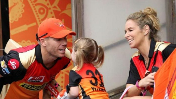 David Warner with his wife Candice Warner and daughter Ivy Mae.