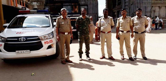 Police and ANF personnel were deployed near Sharada Mutt in Sringeri.