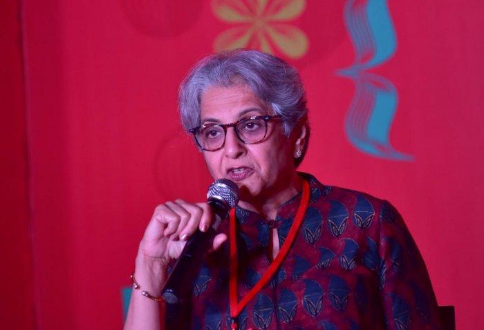 Niraja Gopal Jayal speaks at the Bangalore Literature Festival on Saturday. DH PHOTO/IRSHAD MAHAMMAD