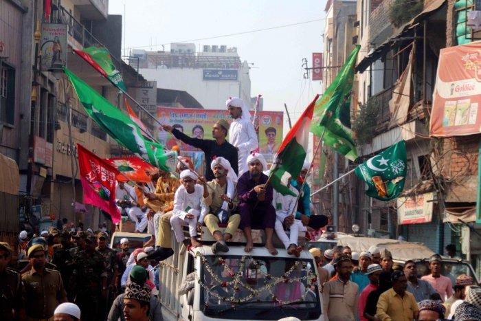 Muslim devotees take part in a procession during Eid Milad-un-Nabi celebrations, in Varanasi.(PTI Photo)
