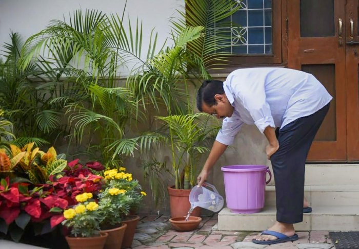 Delhi Chief Minister Arvind Kejriwal inspects his home for stagnant water to prevent the spread of mosquito-borne diseases during '10 Hafte, 10 Baje, 10 Minute' campaign against dengue. (PTI Photo)