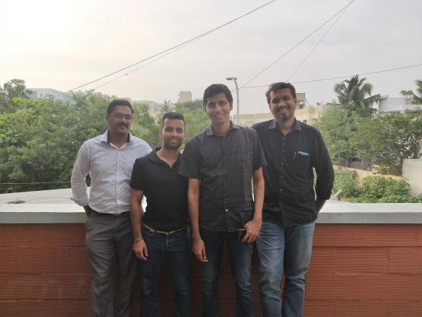 WeGot founders (Left to Right) - Sundeep Donthamshetty – Co-founder and CTO, Abilash Haridass – Co-founder and Chief of Growth & Strategy, Vijay Krishna - Co-founder and CEO, Mohamed Mohideen. (DH photo)
