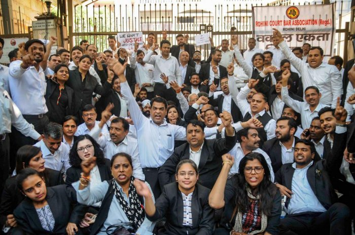 """""""Despite our cooperation, no concrete step has been taken to arrest the police persons who fired at advocates, so there would be complete, complete and complete abstinence from work with all peaceful modes in all Delhi district courts,"""" saidDhir Singh Kasana, general secretary of the coordination committee of All District Courts Bar Associations. Photo/PTI"""
