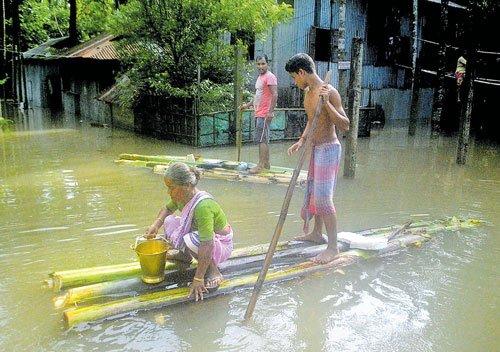 Flood batters Assam, Arunachal
