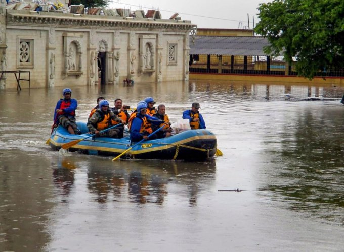Flood situation in catchment areas of Krishna, Bheema and Tungabhadra rivers in North Karnatakais slowing returning to normalcy with reduction indischarge of water on Tuesday. (PTI File Photo)