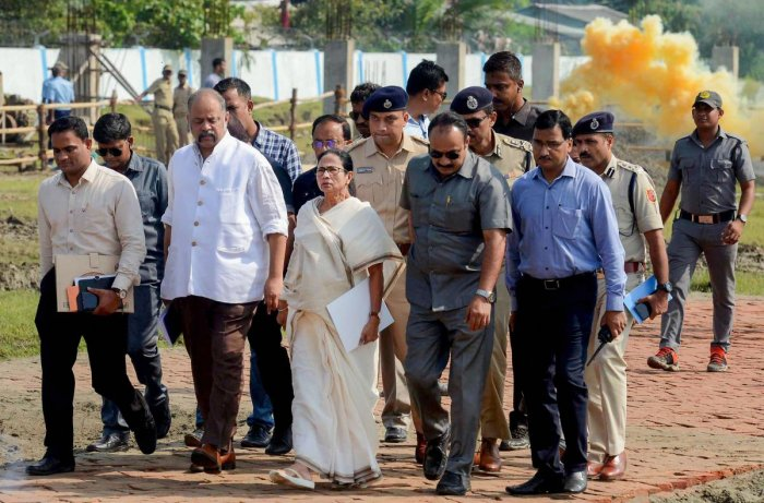 Earlier, Mamata Banerjee with officials visited the cyclone-hit Kakdweep in South 24 Parganas district. (PTI file photo)