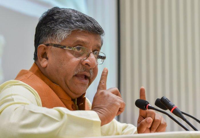 Union Minister of Communications, Electronics & IT and Law & Justice, Ravi Shankar Prasad. (PTI Photo)