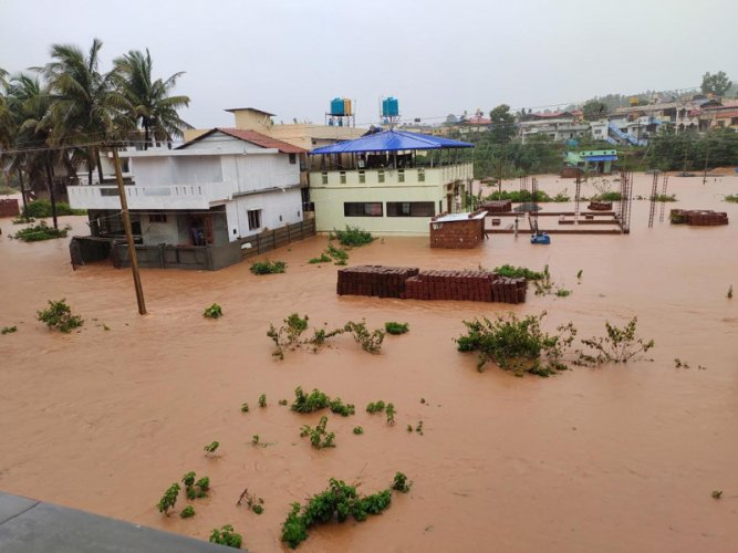 Neerkodu layout in Sagar town is waterlogged due to copious rains. (DH Photo)
