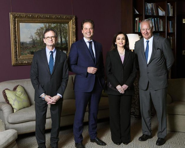 Philantrophist and Chairperson of Reliance Foundation Nita Ambani flanked by Chairman of the Board of Metropolitan Museum of Art Daniel Brodsky (R), President & CEO Daniel Weiss (L) and Director Max Hollein (2L), at The Metropolitan Museum of Art in New York, Wednesday, Nov. 13, 2019. (PTI Photo)