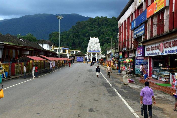 Kukke Subrahmanya Temple wears a deserted look.