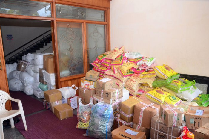 Relief materials collected by Seva Bharati, in Mangaluru.