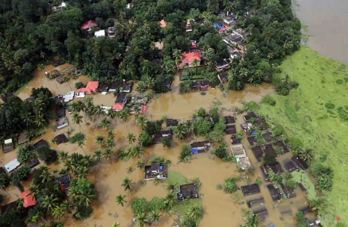 An aerial view shows partially submerged houses at a flooded area in Kerala. Reuters file photo