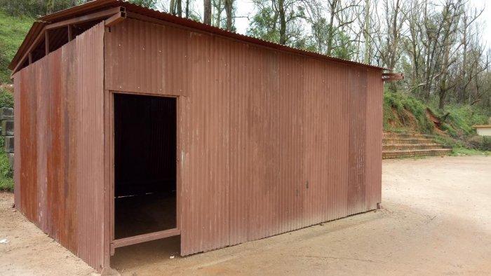 A model of a temporary shed kept at Gandhi Maidan,Madikeri.