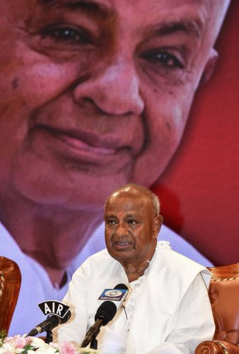 JD(S) supremo H D Deve Gowda (Photo by ANAND BAKSHI)
