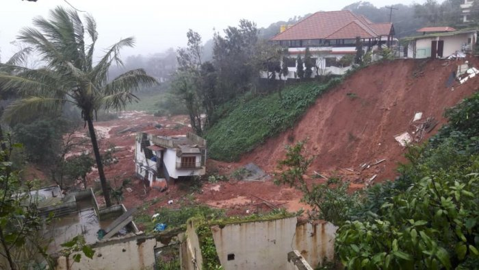 A view of the Kodagu landslides in which hundreds of people lost their homes.
