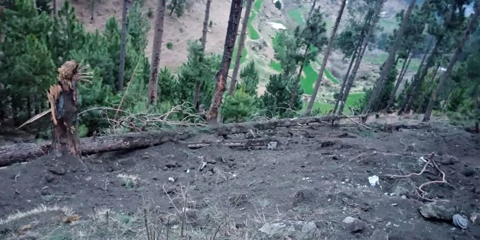 In this handout photograph released by Pakistan's Inter-Services Public Relations on Tuesday, a view of damage caused to trees in hilly terrain after Indian Air Force dropped their payload in Balakot area. Indian planes briefly violated Pakistani airspace