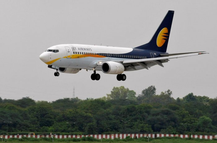 A Jet Airways passenger aircraft prepares to land at the airport in Ahmedabad. REUTERS File Photo