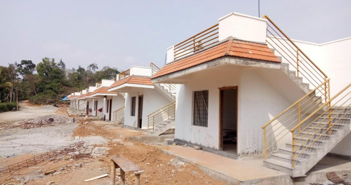 The houses constructed for the flood affected people at Karnangeri in Madikeri taluk.