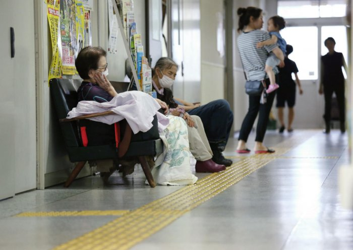 Residents take shelter in an evacuation centre in Aira, Kagoshima prefecture on the southern Kyushu island. Jiji press AFP photo