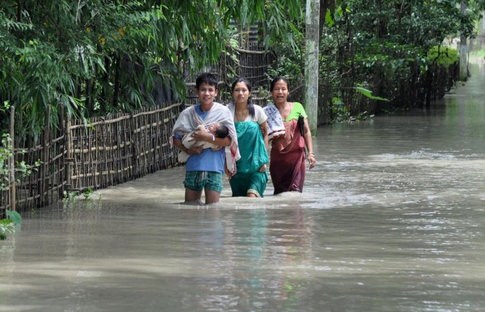 Flood has wrecked havoc in Assam. Photo credit: PTI