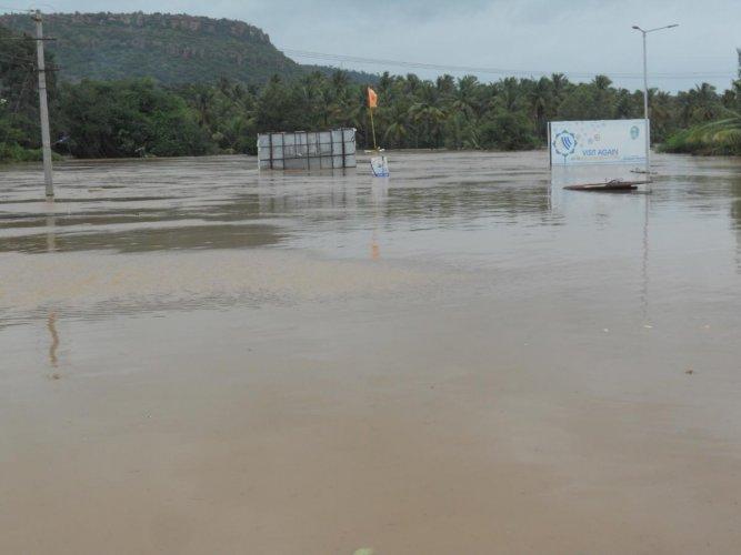 Ghataprabha river in spate near Gokak