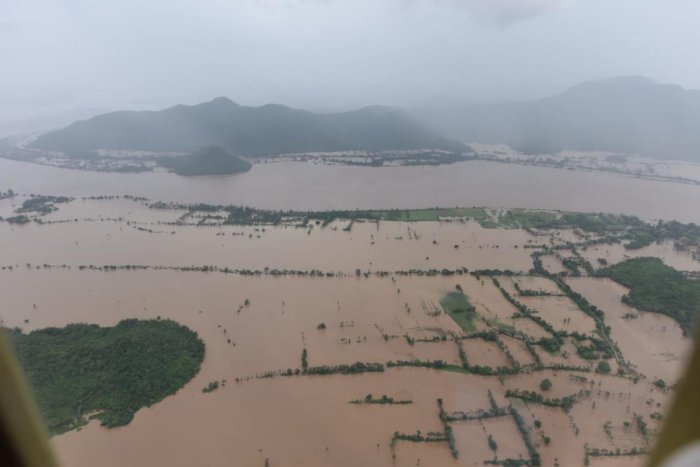Aerial view of Godavari flood-affected areas