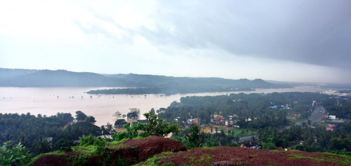 An aerial view of River Nethravathi in spate on Saturday.