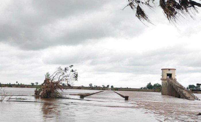A bridge near Kudachi in Raibag is under water hindering movement of vehicles between Karnataka and Maharashtra, on Saturday.