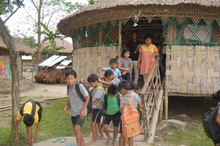 A bamboo hut classroom at The Hummingbird, a school built by Bipin Dhane for the flood-affected children of Majuli Island. Photos by author