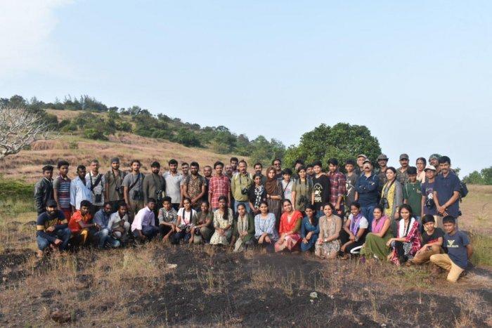 Nature enthusiasts participate in the Kidoor Bird Fest at Midlands of Kidoor in Kasargod district, Kerala.