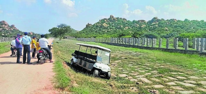 The battery operated vehicle which toppled on Hampi temple premises on Tuesday.