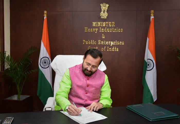 Union Minister Prakash Javadekar takes additional charge of Ministry of Heavy Industries and Public Enterprises, in New Delhi on Wednesday. (PTI Photo)