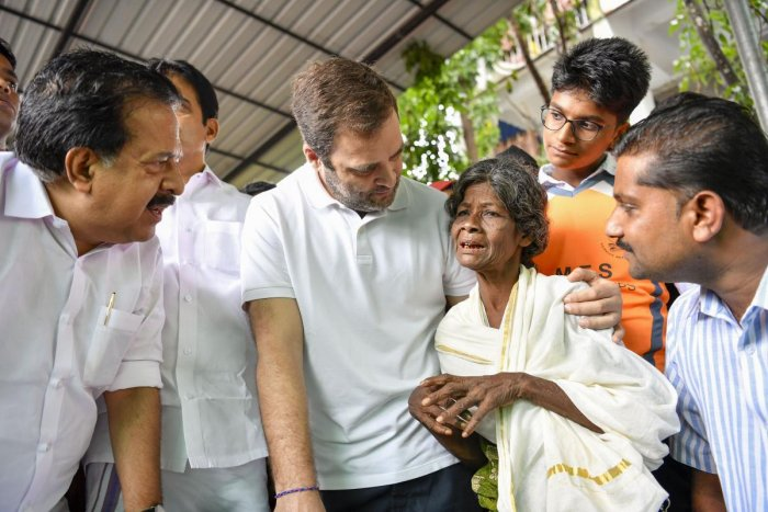 Wayanad: Congress leader Rahul Gandhi interacts with the people affected by floods and landslides at Bhoothanam in his parliamentary constituency Wayanad. PTI Photo