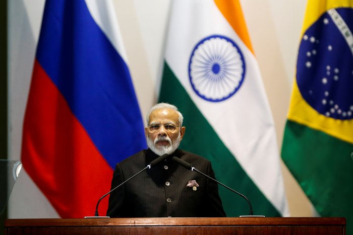 India's Prime Minister Narendra Modi speaks during the Dialogue with BRICS Business Council & New Development Bank during the BRICS summit in Brasilia. (Reuters Photo)
