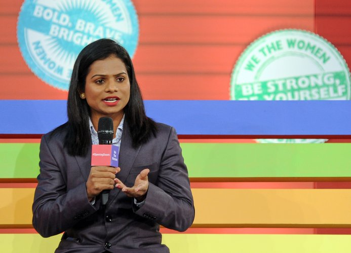 Sprinter Dutee Chand speaks about discrimination women face in sports during We the Women. (DH Photo)
