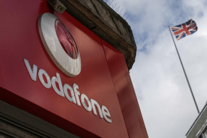 A Vodafone logo (Photo by AFP)