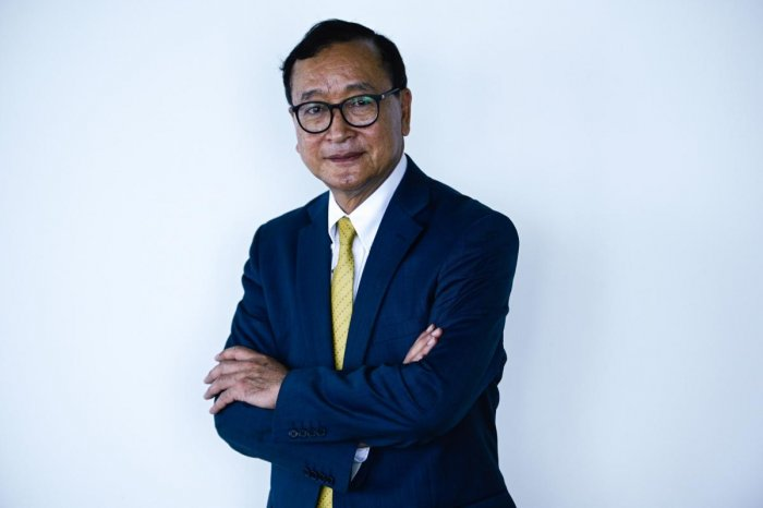Hun Sen had sent out arrest warrants for Rainsy (pictured) to neighbouring countries ahead of his planned homecoming of November 9. AFP
