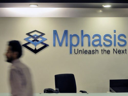 Mphasis logo at the company's office in Bengaluru, India. (Photo by Reuters)